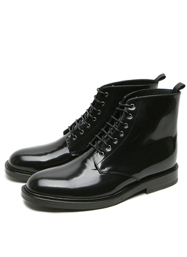 S. Black Army Lace Up Leather Boots