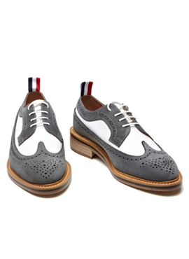 White nubuck & gray suede wingtip shoes
