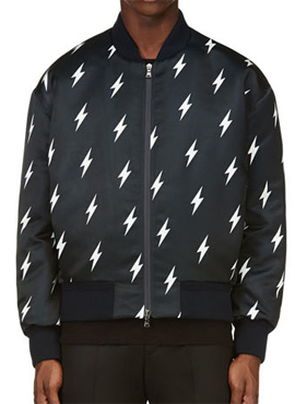 (50% off) RD Lightning bolt print satin bomber jacket