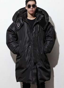 RD Oversized padding with leather hoodie [black/gray]