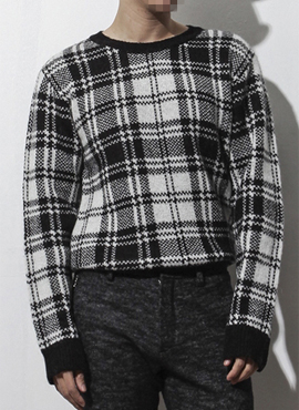 RD Mohair black checked knit