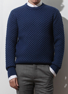 (50% off) RD honeycomb sweater (blue/black)