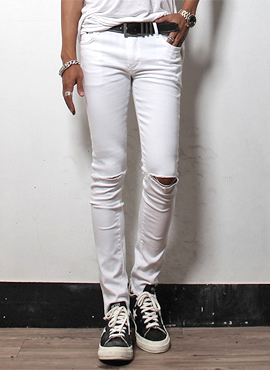 S. White Ripped-Knee Slim Jeans
