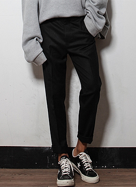RD MR.baggy slacks(Black/Chacoal grey)