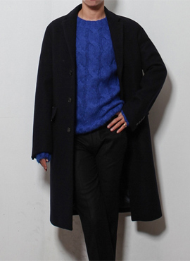 RD Navy felt semi-overfit coat