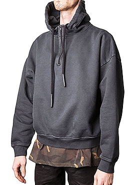 (Restock) Yeez* Half Zip Hoodie(Black/Grey)