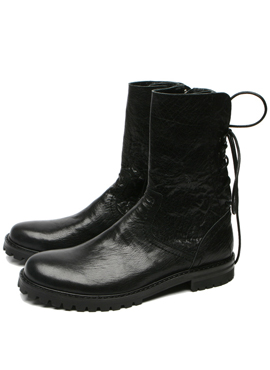 (Restock) RD Black leather lace boots