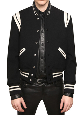 S. Leather trimmed Teddy jacket