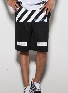 (Restock) RD OW. 16ss Mesh Half Pants (Black / White)