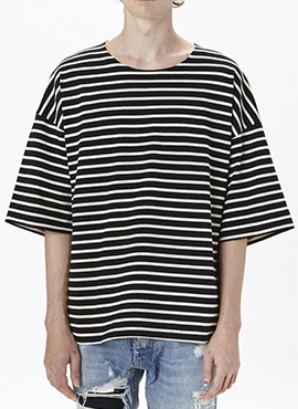 (Restock) RD F.4th striped T-shirts (black / ivory)