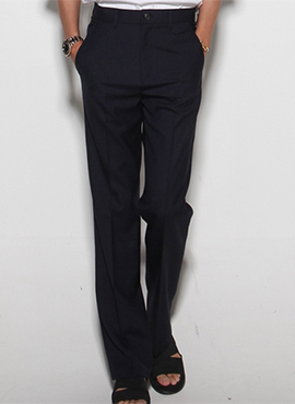 Ring Semi-wide Slacks (Black / Navy)