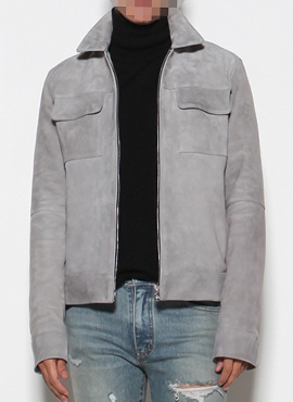 Goat Suede Leather Jacket Grey