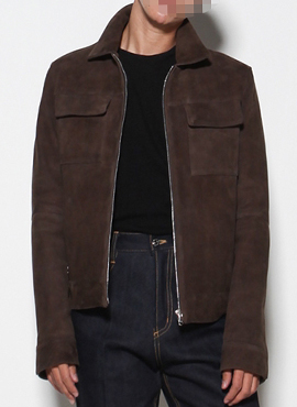 RD Goat suede leather jacket Chocolate Brown