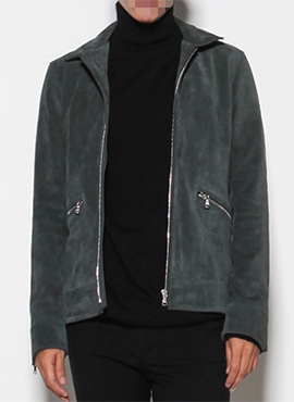 Calf Suede Leather Jacket Deep Green