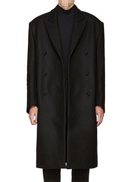 V. Black Oversized Double Breasted Coat