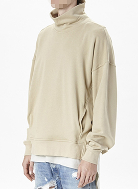 (50% off)  (Restock) RD F.Turtle Neck Beige Sweatshirt