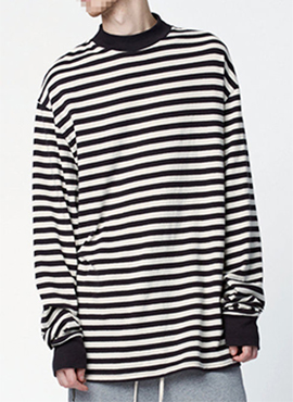 (Restock) RD F.Stripe High Neck Oversized T-shirt