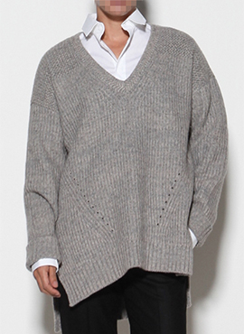RD V-neck Oversized Cashmere Knit (2colors)