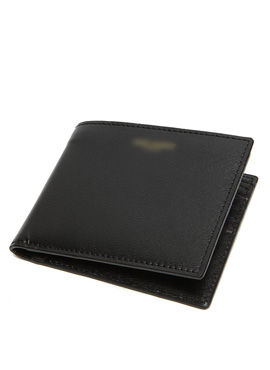 S. black calf leather wallet