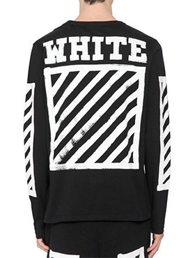 OW. Printed Long Sleeve T-Shirt(Black / White)