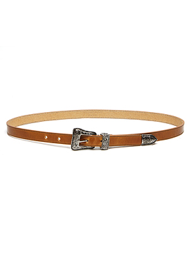S. Western Buckle Brown Leather Belt