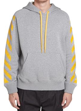 M x OW Grey Striped Hoodie