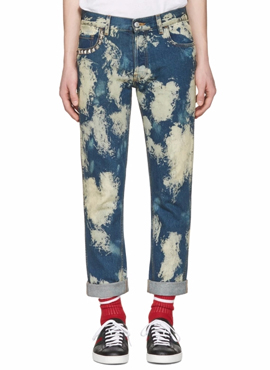 RD Blue Bleached Denim Punk Jeans