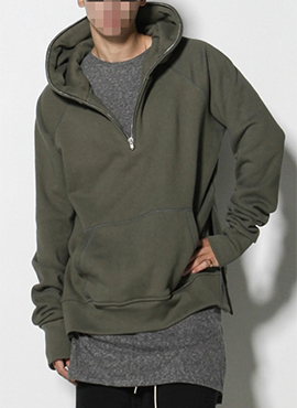 RD F.half zip hoodie long-sleeved ver(Black/Khaki)