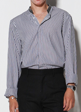 (Restock)RD Leather Chinese Collar Stripe Shirts(2colors)