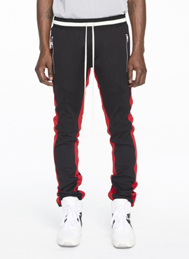 RD F. Double Striped Track Pants Black