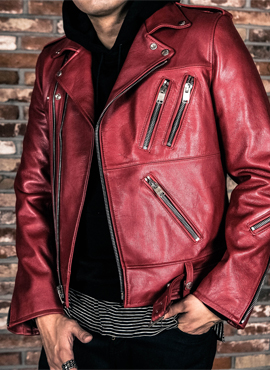 (Restock) RD S.Zipped Red Leather Biker Jacket