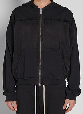 RD H.Raw Edged Black Hoodie