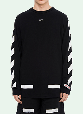 RD Diagonal Arrow Long Sleeve T-Shirt Black