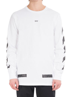 RD Diagonal Arrow Long Sleeve T-Shirt White