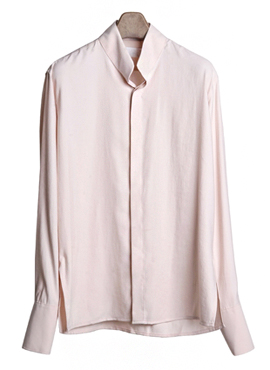 [Beside] Pink Chinese Collar Shirt