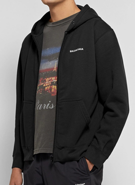 RD 18fw B. Slim-Fit Back Logo Zip-Up Hoodie