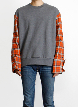 [Defond] Plaid Oversized Sweatshirt Orange