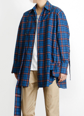 [Defond] Plaid Oversized Cut-Out Shirt Blue