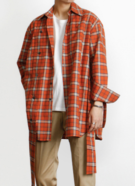 [Defond] Plaid Oversized Cut-Out Shirt Orange