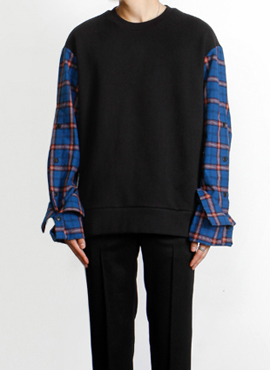 [Defond] Plaid Oversized Sweatshirt Blue